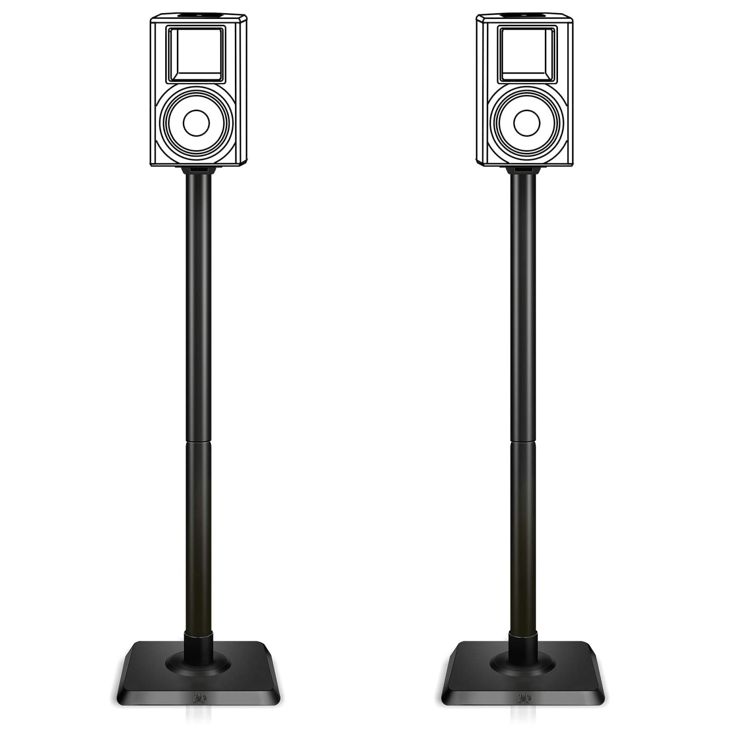 Mounting Dream Speaker Stand Pair for Home Theater Surround Sound Satellite Speakers, Set of 2 Floor Stand Mounts Built-in Cable Management Universal compatibility with 11LBS Capacity Per Stand MD5402 by Mounting Dream