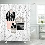 Black and Hot Pink Shower Curtains TOMPOP Shower Curtain Cactus Plants in Black White Taupe and Pastel Pink Waterproof Polyester Fabric 60 x 72 Inches Set with Hooks