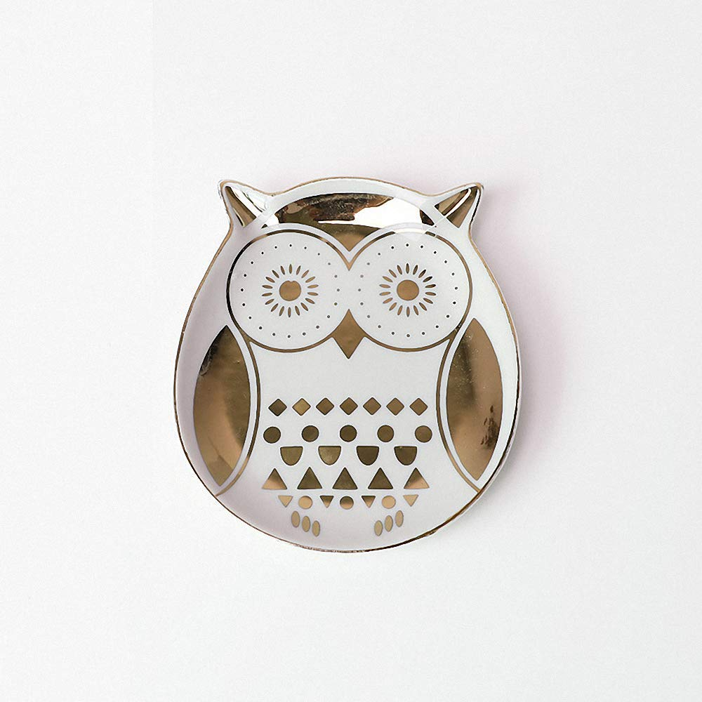 Golden Rim Owl Ceramic Jewelry Tray Ring Earrings Holder Necklace Crafts Organizer Storage Desk Ornaments Trinkets Tray Dish Plate Stand Display Gift for Daughter Girlfriend Home Decoration by LYNK THINGS (Image #2)