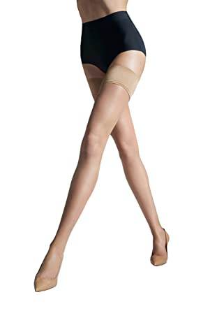 bad5d2b1e Gatta SLIM LINE Women s Sheer Silicone-Lined Satin Top Stay-Up Stockings  with Light