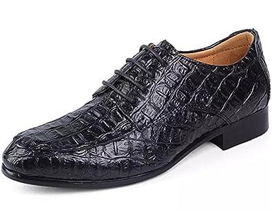 Herrenschuhe Elegante Herren Derby Echtes Leder Business Schnürer Elegante  Anzug Schuhe (43 EU, Schwarz d6027cd27b