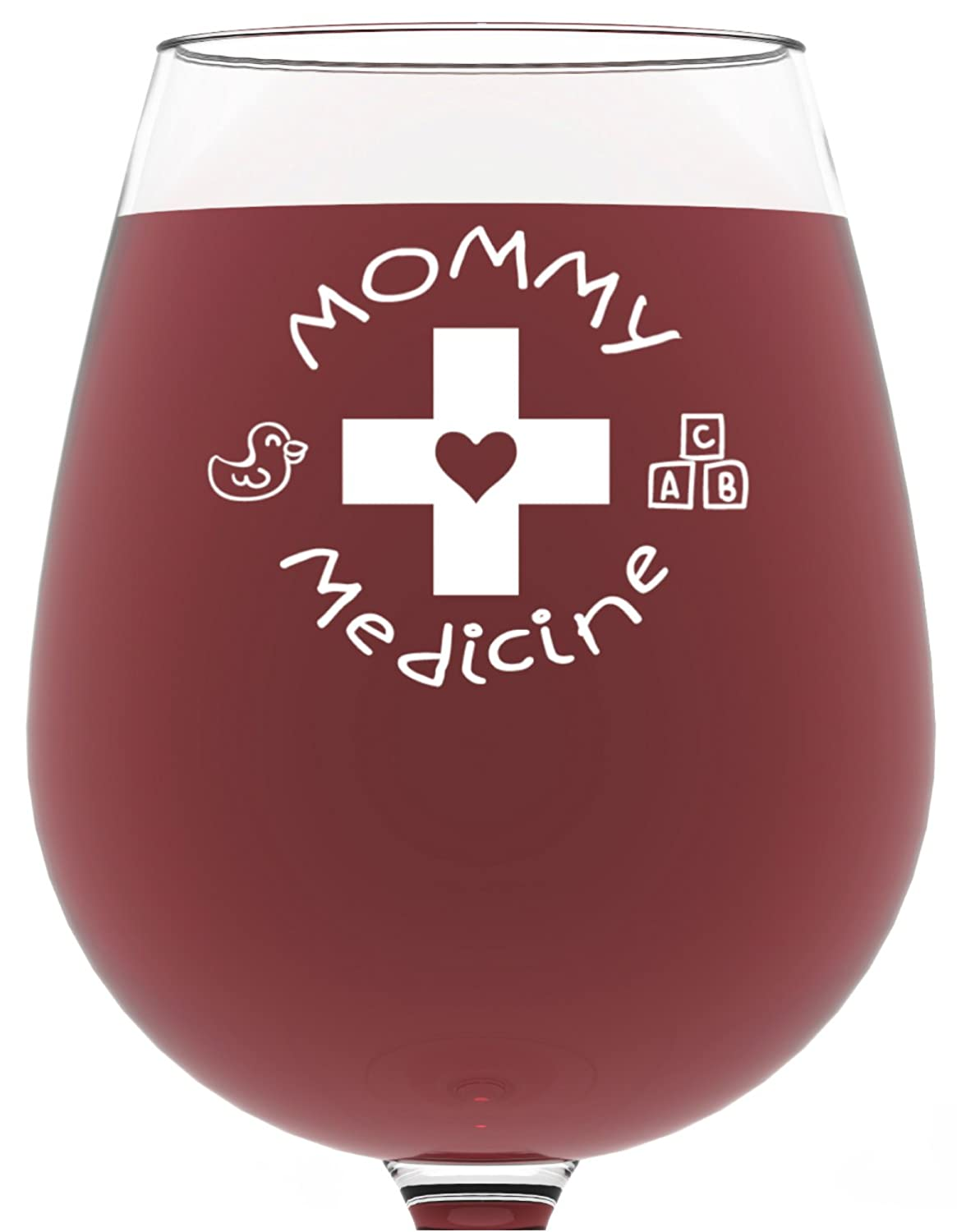 Funny Mommy Medicine wine glass is a cute little gift for the mom who needs to relax!