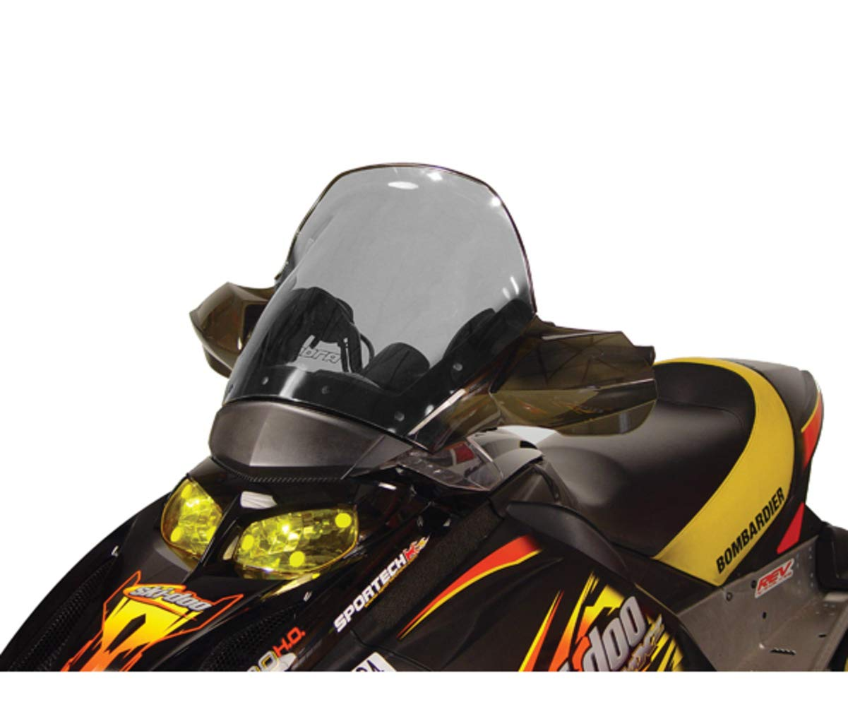 Tall height Tinted with black edge PowerMadd 13042 Cobra Windshield for Ski Doo Rev Fairing Mount