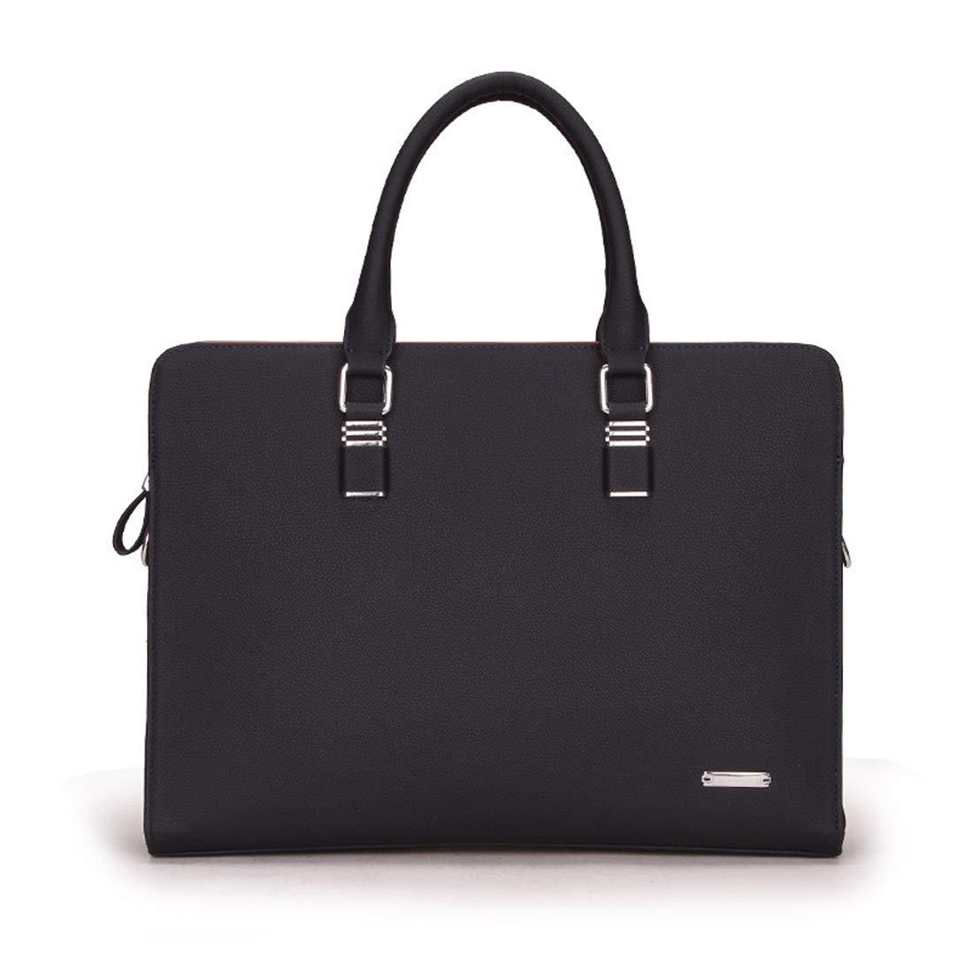 Carriemeow Black Leather Messenger Bag 13 Inch Laptop Briefcase Satchel Shoulder Handbag with Detachable Shoulder Strap (Color : Blue)