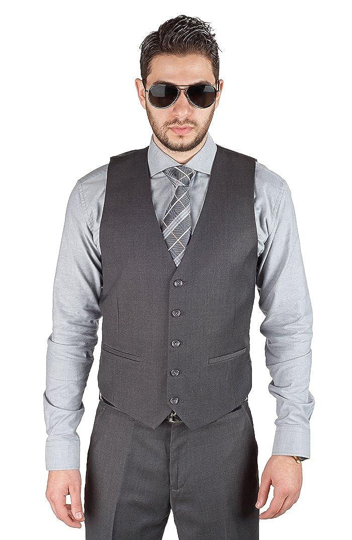AZAR MAN Mens Slim Fit Dress Suit Vest 5 Button Adjustable Back Strap