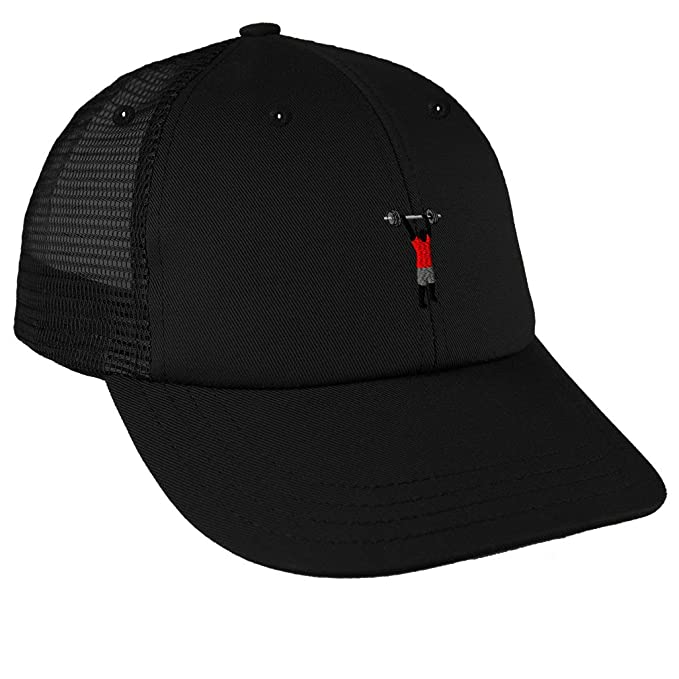 Amazon.com  Weight Cross Fit Barbell 1 Embroidery Unisex Adult Snaps Cotton  Low Crown Mesh Golf Snapback Hat Cap - Black 717f52d36150