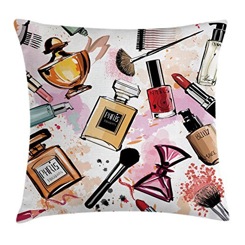 TINA-R Girly Decor Throw Pillow Cushion Cover, Cosmetic Make Up Theme Pattern Perfume and Lipstick Nail Polish Brush Modern City, Decorative Square Pillow Case, 18 X 18 Inches, (Girly Makeup For Halloween)