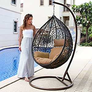 Island Gale Outdoor Brown Wicker Rattan Hanging Swing Egg Chair Hammock with Stand and Cushion (Brown Wicker, Beige Cushion)