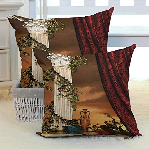 Gothic Throw Pillow Greek Style Scene Climber Pillow Fruits Vine and Red Curtain Ancient Figure Sunset Various Print Fashion Patterns for Home 2PCS – W24 x L24 inch Multicolor