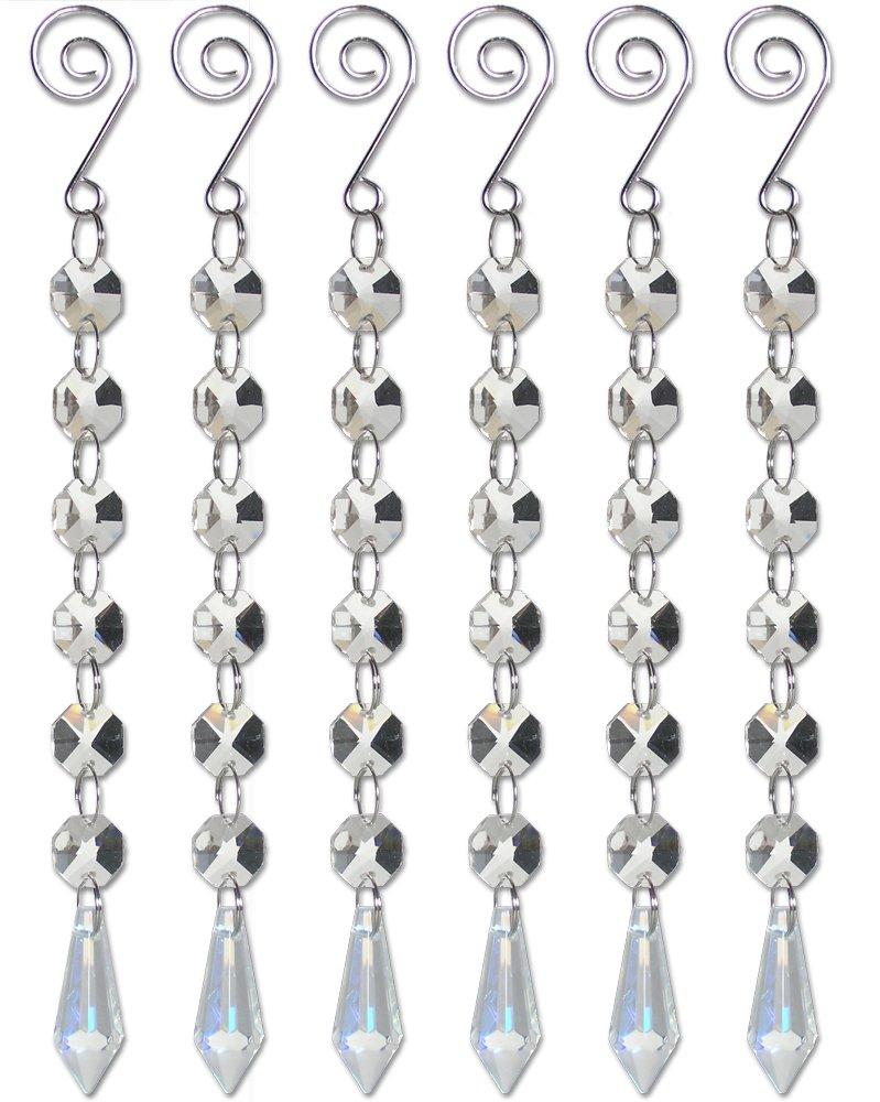 Amazon.com: Crystal Ornaments - Set of 6 Iridescent Teardrop Crystal ...