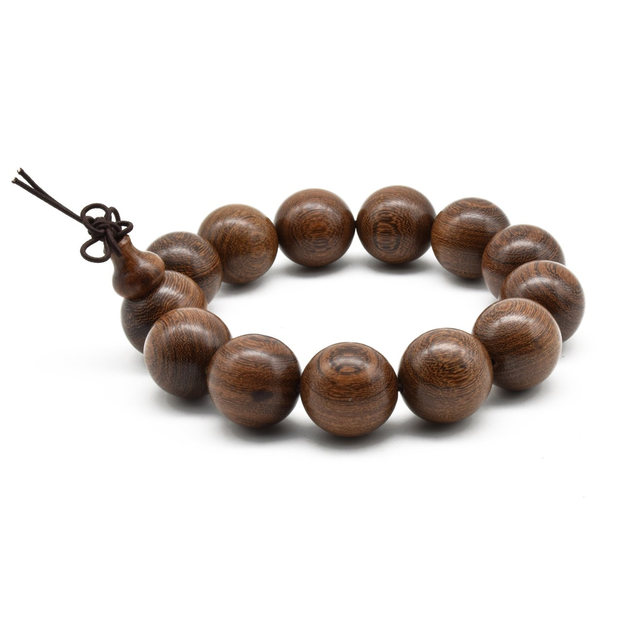 Zen Dear Unisex Natural Silkwood Tibetan Buddhism Meditation Prayer Bead Necklace Japa Mala Beads Bracelets (18mm x 13 Beads)