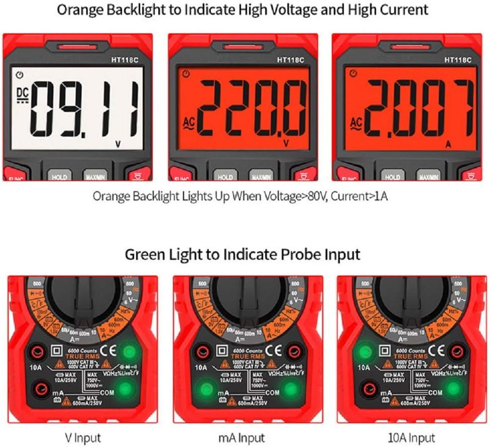 polimetro mide Capacitancia y Temperatura 6000 counts polimetro Rango autom/ático con NCV ohm/ímetro continuidad con LCD Retroiluminada SP-Cow Mult/Ímetro Digital con retenci/ón de datos