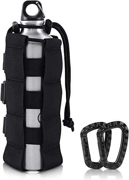 Camping Travel Nylon Water Bottle Holder Backpack Belt Straps Carrier Pouch Tool