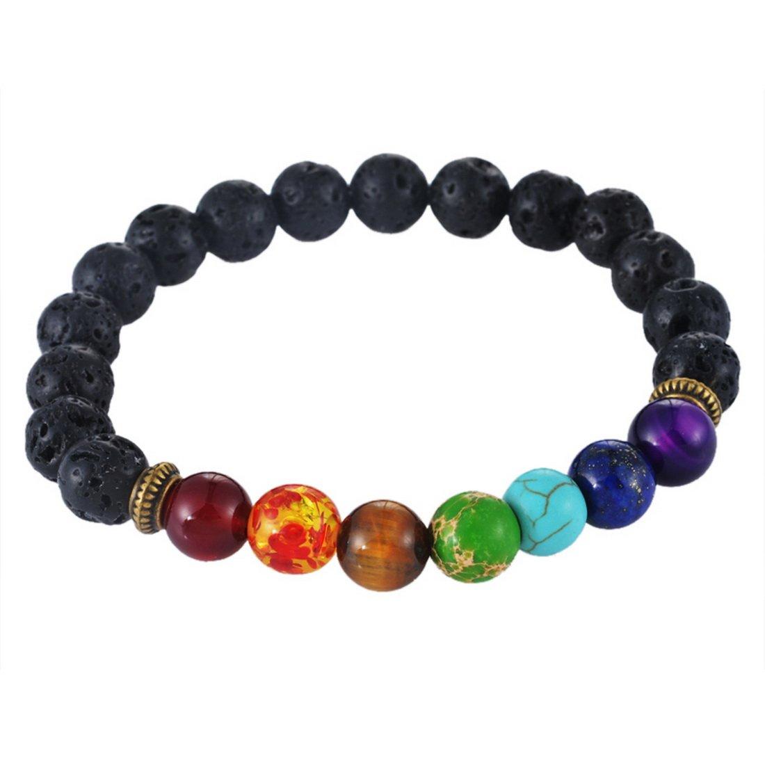 MJartoria Lava Rock Turquoise Beads Charka Reiki Black Healing Energy Stone Bracelet