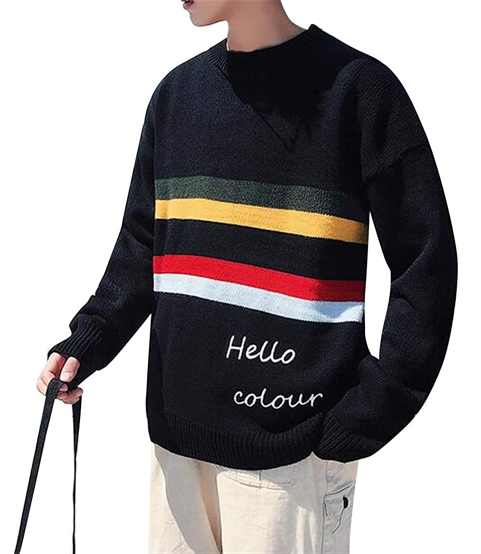 YYG Mens Knitted Long Sleeve Round Neck Relaxed Colorful Dyeing Rainbow Pullover Sweater