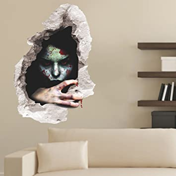 Dasara halloween 3d horror ghost wall stickers removable scary wall decals home decor3