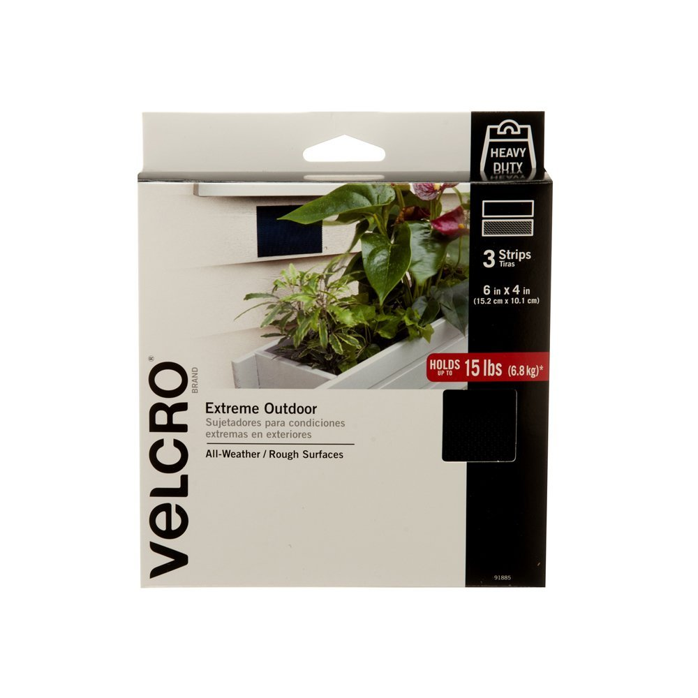 VELCRO Brand - Industrial Strength Extreme Outdoor | Heavy Duty, Superior Holding Power on Rough Surfaces | 3 Strips | 6in x 4in | Black