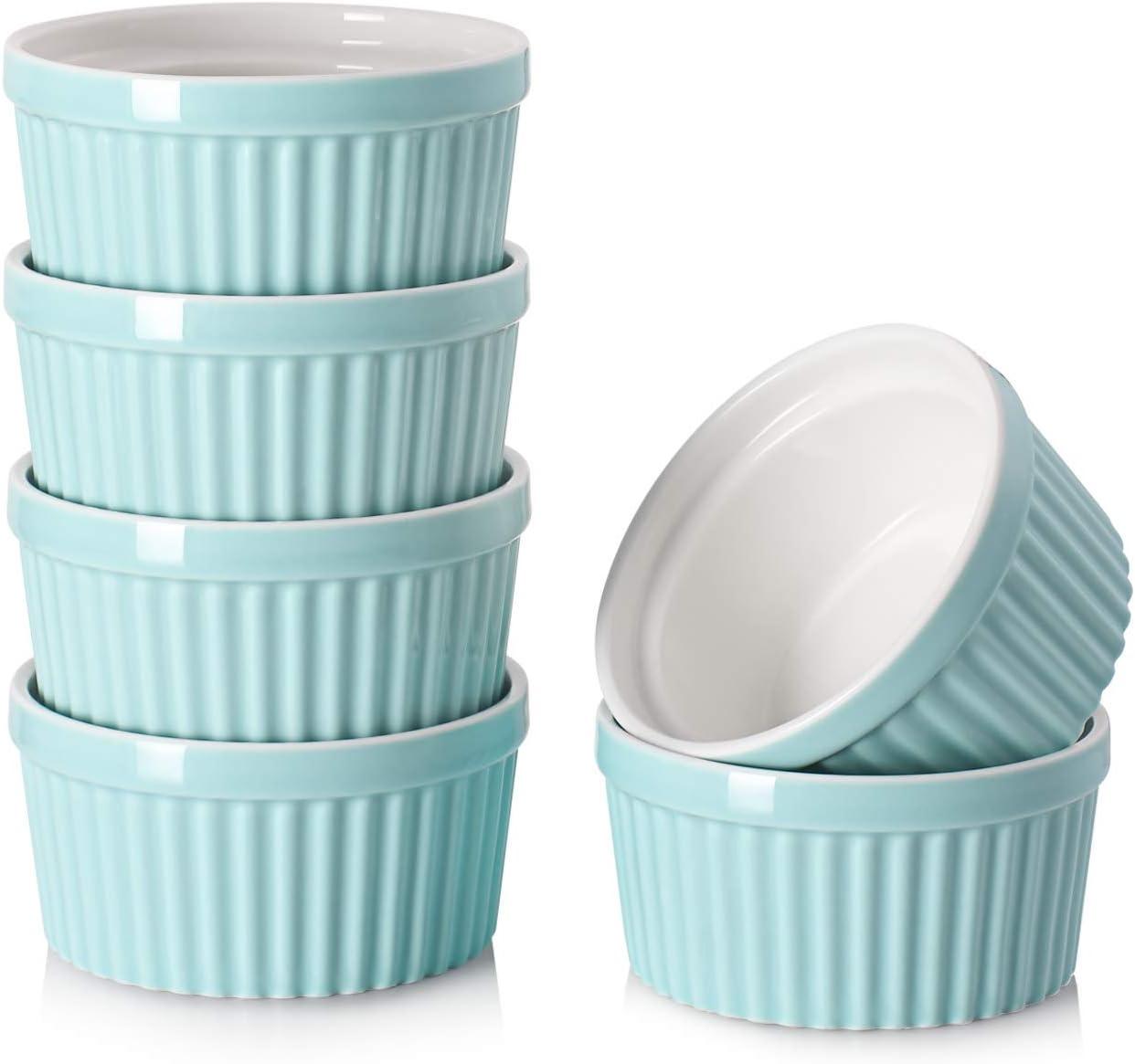 DOWAN 4 Oz Porcelain Ramekins - Souffle Dish Ramekins for Creme Brulee Pudding Oven Safe, Classic Style Ramekins Bowls for Baking, Set of 6, Blue
