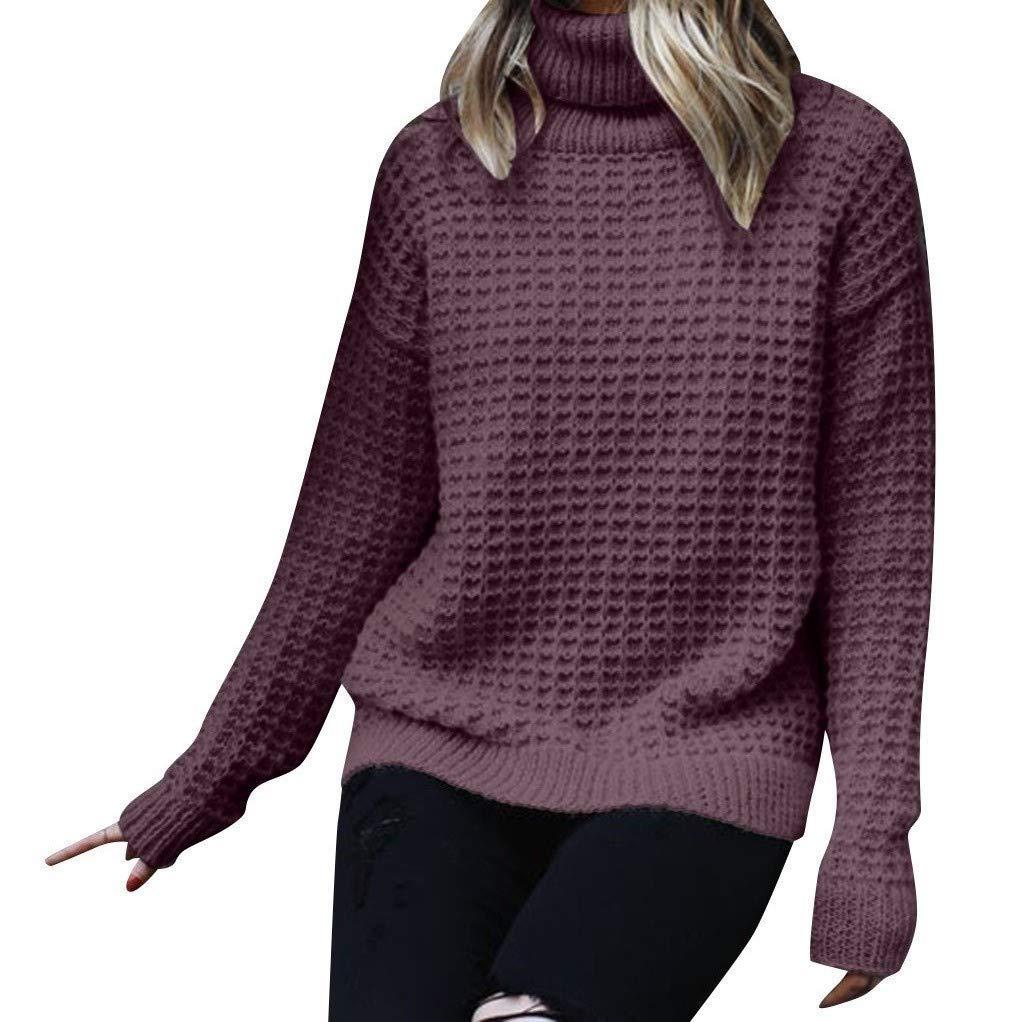 SPORTTIN Women's Knitting Turtleneck Pullover Casual Solid Long Sleeve High Collar Sweater(Purple,Medium by SPORTTIN