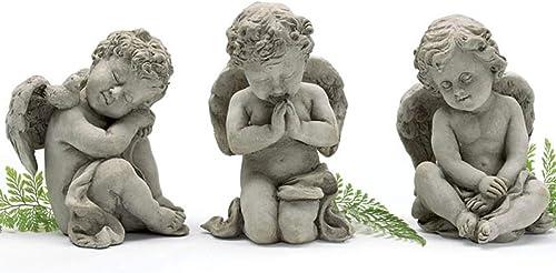 Set of 3 Sweet Cherub Child Angel Figurines Rustic Tabletop or Garden Decoration Spiritual Indoor or Outdoor Home Decor