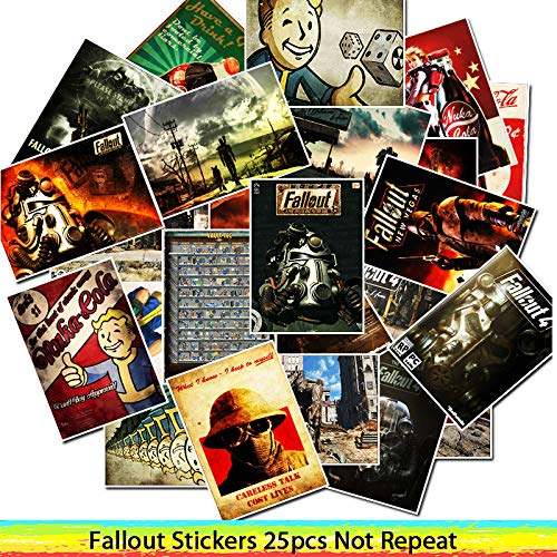 25pcs Game Fallout Stickers for Luggage Laptop Art Painting DIY Poster Stickers Waterproof Skateboard Toy -