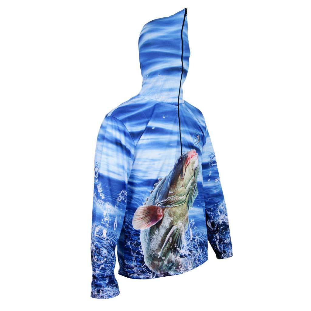 MagiDeal Camisa con Capucha Sudadera Protección Solar Secado Rápido Pesca Casual