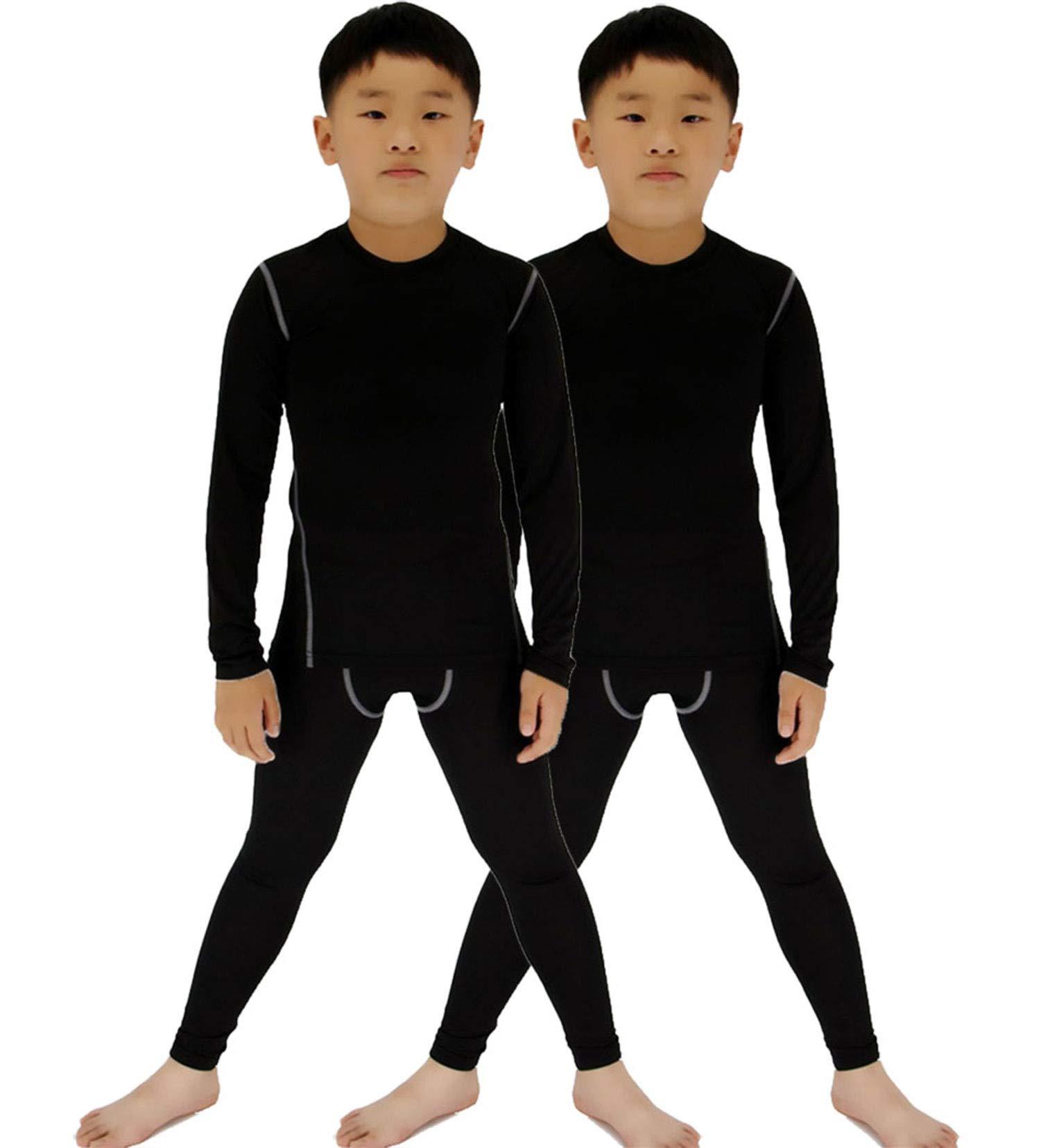 LANBAOSI 2 Packs Boys & Girls Long Sleeve Compression Shirts and Pants Set Black