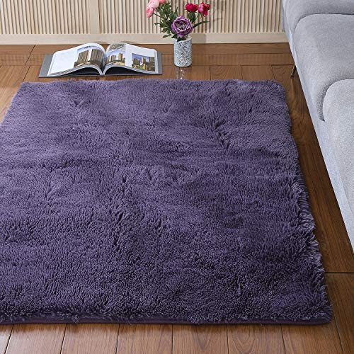 YJ.GWL Soft Shaggy Area Rugs for Bedroom Kids Room Children Playroom Non-Slip Living Room Carpets Nursery Mat Home Decor 4 x 5.3 Feet (Gray Purple)