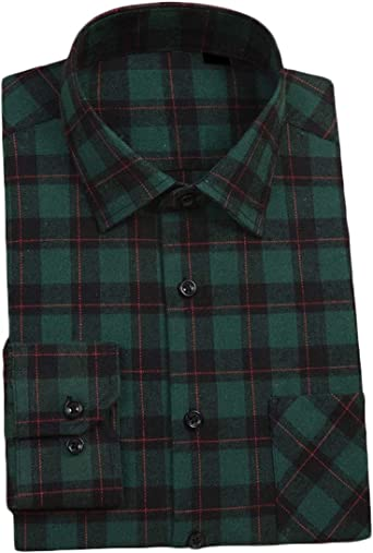 YUNY Mens Casual Long Sleeve Relaxed-Fit Plaid Pattern Square Collor Flannel Shirts AS5 2XL