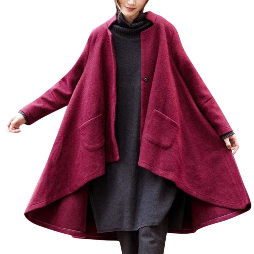 TIREOW Mode Damen Winter Langarm Taschen Lose Lange Mantel