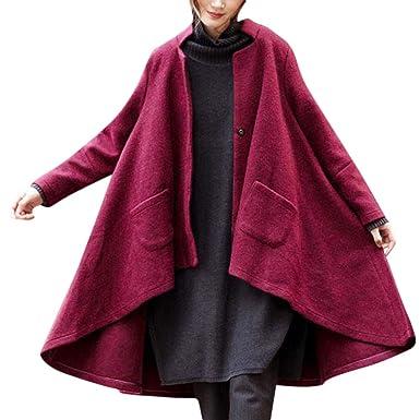 Luckycat Mujer Poncho - Chaquetas para Mujeres, Mujer Invierno Abrigo de Capa de Lana Mezcla