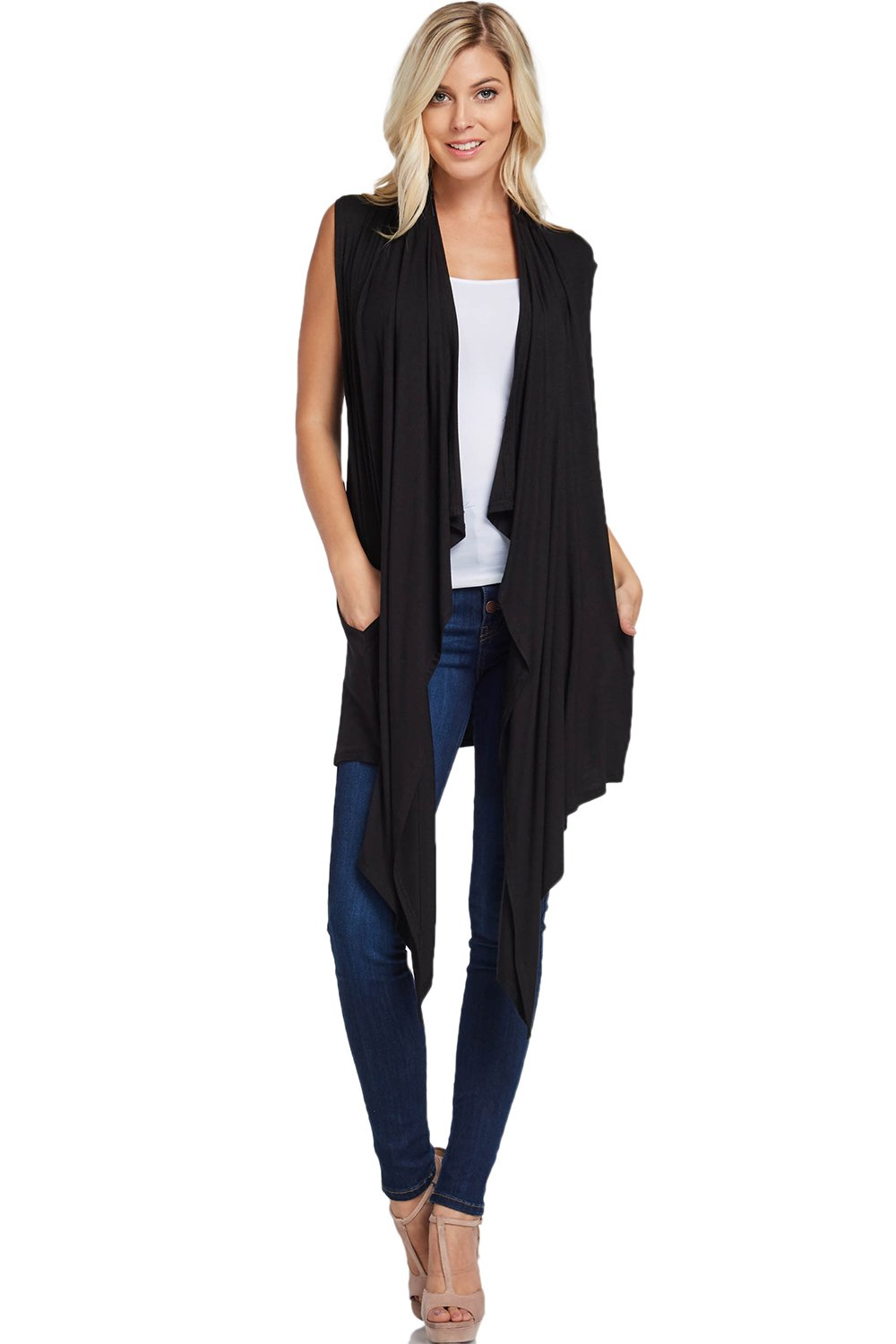 Annabelle Women's Draped Vest Knit Cardigan With Side Pockets X-Large Black T1093X
