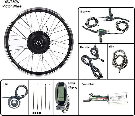 GGD Hub eléctricos de la conversión de la Bicicleta Kit 48V 350W de Ruedas eléctrica Kit de conversión de Rueda de Bicicleta con Motor LCD6 Display 16-28 Pulgadas 700C E-Bici,28inch LCD Sets: