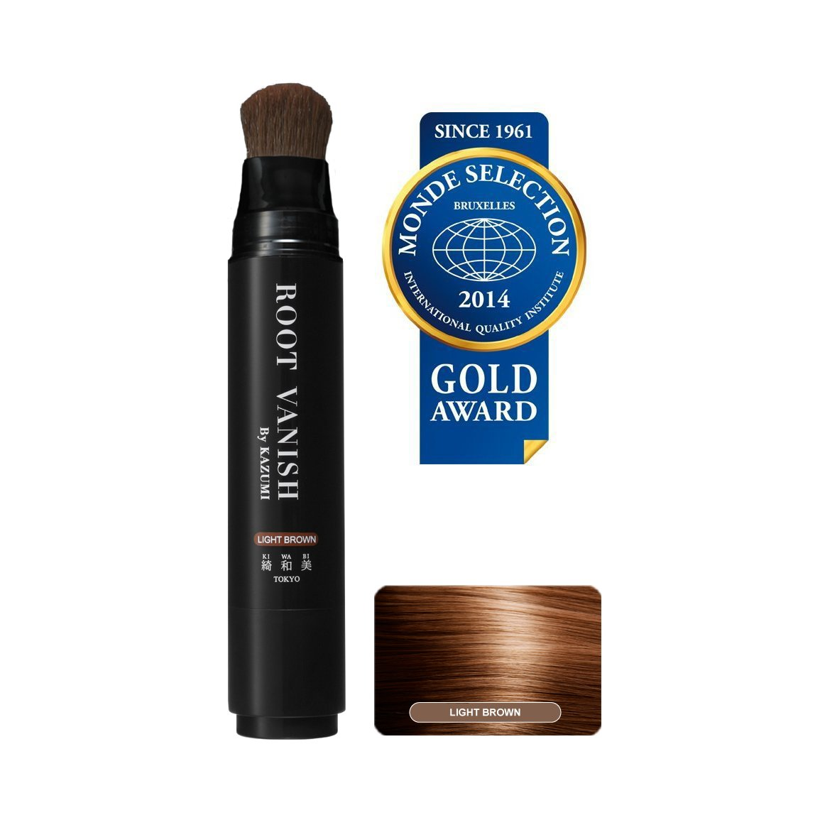 ROOT VANISH BY KAZUMI in Light Brown Instantly Camouflages Gray Roots and Hair with Natural Anti-Aging Botanicals. 100 Click Pumps (20ml / 0.7oz) Lasts 2-3 Months. Carries You Over Between Salon Color Appointments.