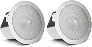 JBL Professional Control 18C/T Two-Way 8-Inch Coaxial Ceiling Loudspeaker, White, Sold as Pair