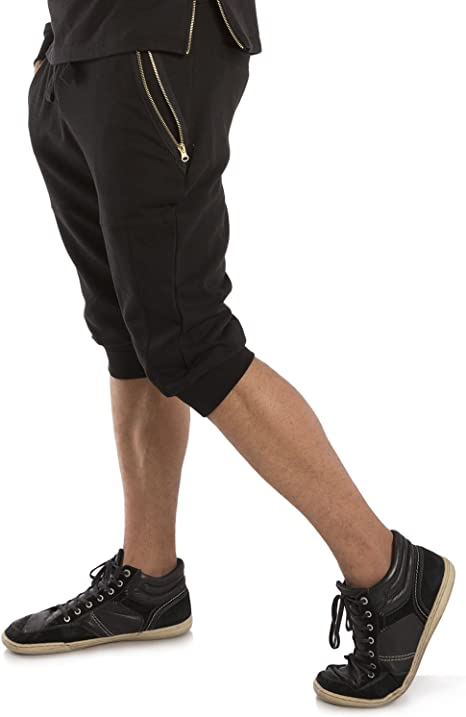 Vibes Mens French Terry Capri Shorts Zip Side Pocket Rib Waist Cuff 18/'/' Inseam