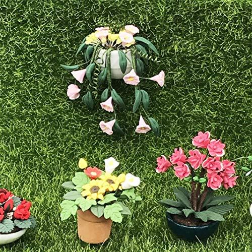 Newrys Dollhouse Flower Plant Green Accessories, 1/12 Miniature Garden Accessorie Petunia Bonsai Model Doll House Garden Balcony Decor Accessory from Newrys