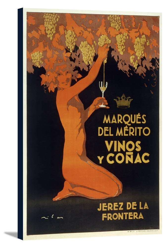marqes del Merito – Vinos yコニャック – Jerez de la Fronteraスペインヴィンテージポスター 24 x 36 Gallery Canvas LANT-3P-SC-59426-24x36 24 x 36 Gallery Canvas  B0184AUAPC