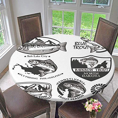 PINAFORE HOME Round Premium Tablecloth Vintage Trout Fish Emblems Labels and Design Elements Stain Resistant 43.5