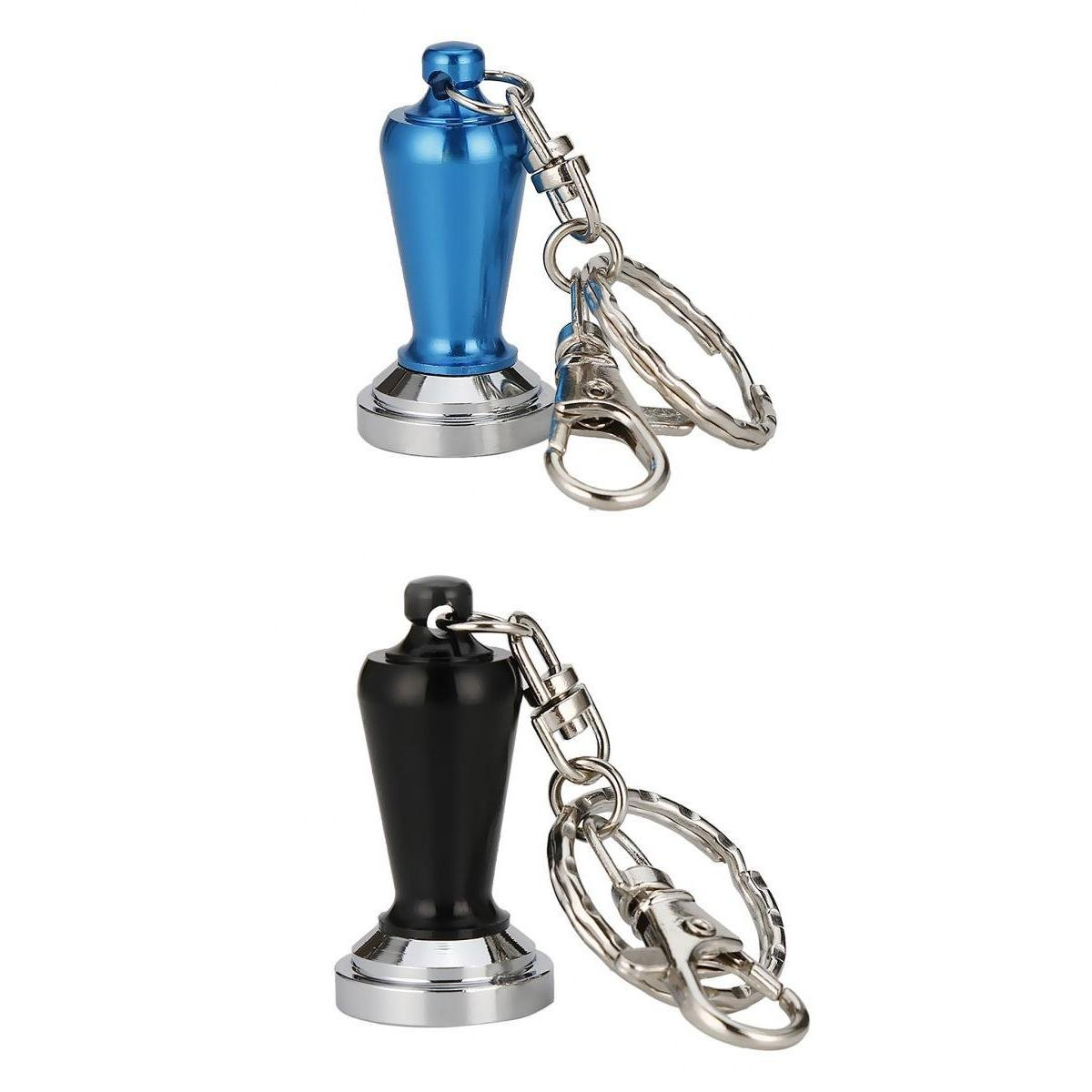 MagiDeal Stainless Steel Coffee Tamper Keyring Keychain Coffee Accessory Black Blue