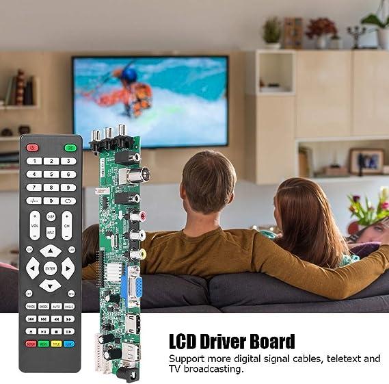 Placa de controlador de LCD, placa de controlador de TV, kit de reparación de placa lógica, módulo de controlador de placa de controlador de TV LCD, señal digital DC 12V 4A para
