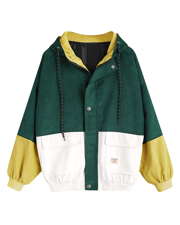 ZAFUL Women Teen Hooded Color Block Corduroy Jacket Long Sleeve Oversized Coat 2323642