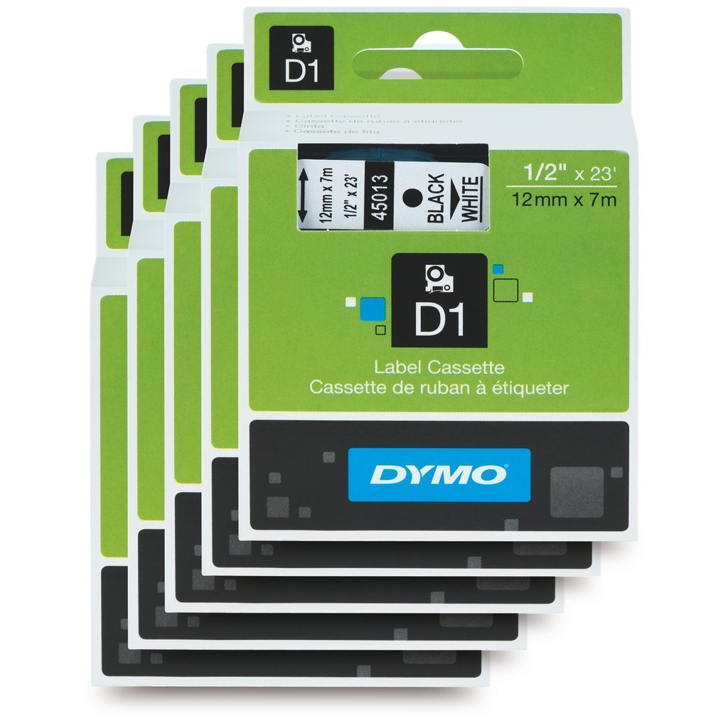 DYMO Standard D1 labeling tape for Labe lManager Label Makers, Black print on White tape, 1/2'' W x 23' L, 1 Cartridge (45013) 5 PACK