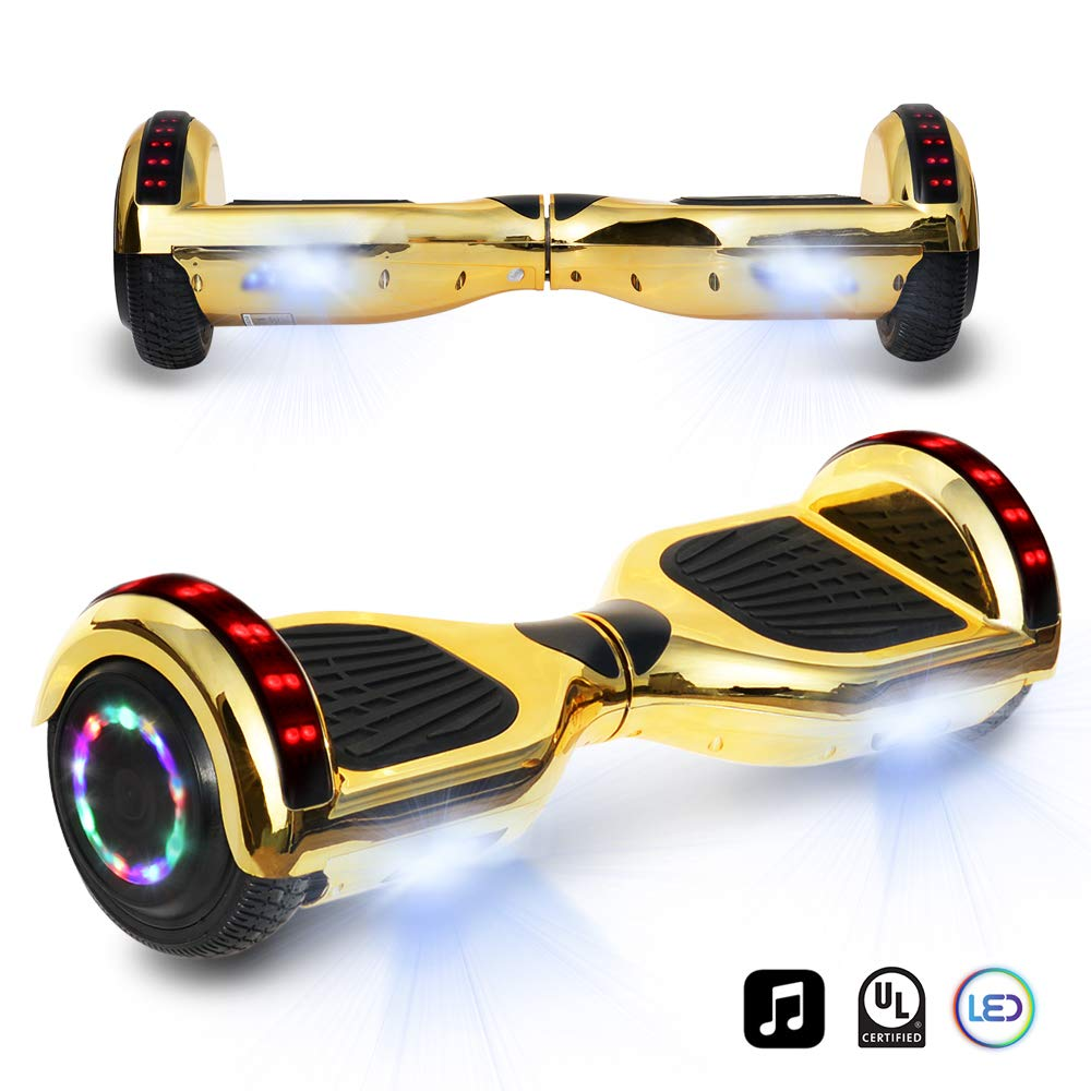 cho 6.5'' inch Chrome Hoverboard Electric Smart Self Balancing Scooter with Built-in Wireless Speaker LED Wheels and Side Lights- UL2272 Certified (Gold)
