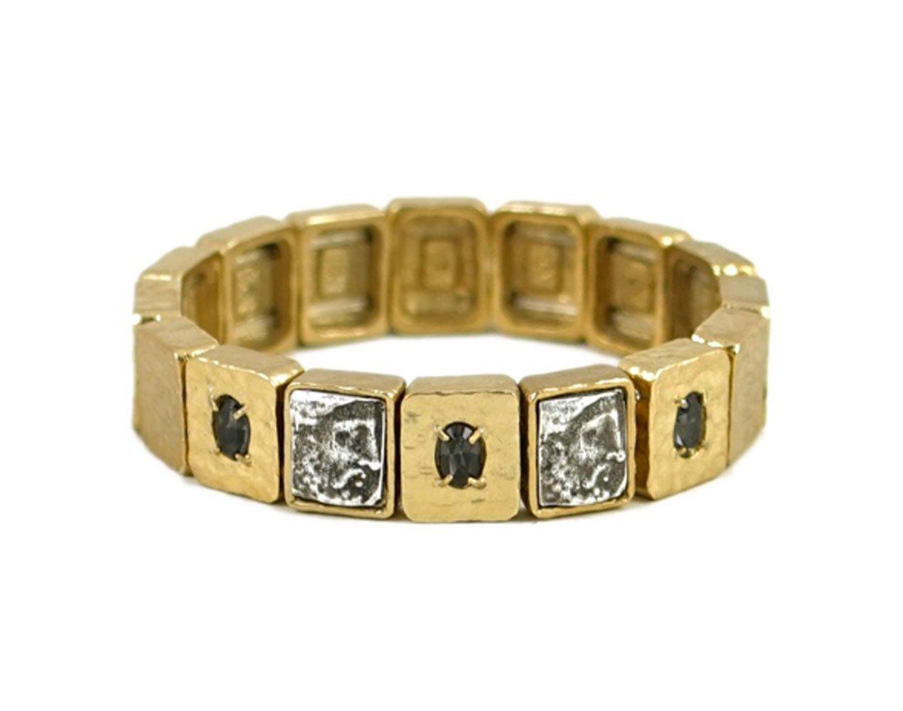 Tat2 Designs Women's Gold Plated & Black Diamond Cloch Roman Man Bracelet