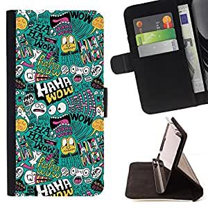 DEVIL CASE - FOR Samsung Galaxy A3 - Haha Wow Art Wallpaper Alien Monster Bubble - Style PU Leather Case Wallet Flip Stand Flap Closure Cover