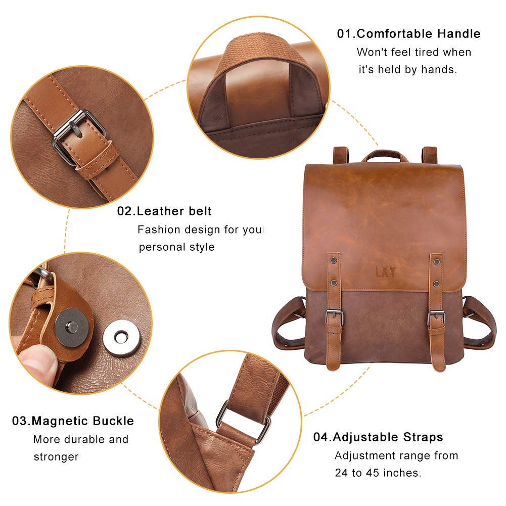 LXY Vegan Leather Backpack Vintage Laptop Bookbag for Women Men, Brown Faux Leather Backpack Purse College School Bookbag Weekend Travel Daypack by LXY (Image #4)