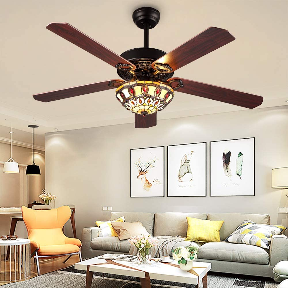 RainierLight Modern Ceiling Fans Led Light with 5 Wood Reversible Blades for Living Room Bedroom Dinning Room Remote Control 3 Speed Low,Medium,High Quiet Fan Home Decoration 52-Inch