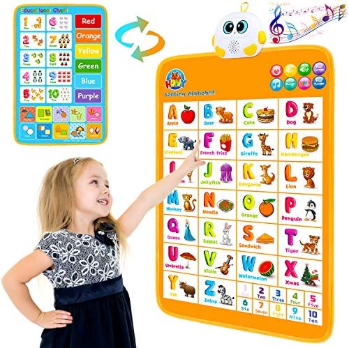 Electronic Interactive Alphabet Wall Chart, Talking ABC & 123s & Numbers Music Poster, Best Educational Toy for Toddler Gifts. Kids Fun Learning Toys at Daycare,Preschool,Kindergarten for Boys & Girls