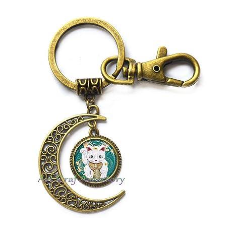 Amazon.com: Llavero con diseño de gato de la suerte de la ...